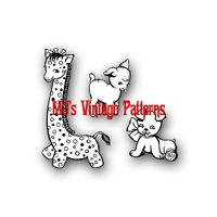 Vintage Cuddly Giraffe, Lamb & Puppy Stuffed Animal Pattern