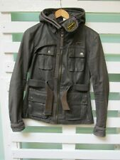 Mens Superdry Motorcycles Brown Waxed Cotton Jacket With Hood Size M