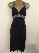 Ladies Dress 12 (UK) Black ZOE CLOTHING.COM Designer Halter Faux Suede Metal