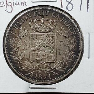 1871 BELGIUM SILVER 5 FRANCS CROWN COIN CHOICE VF / XF Nice