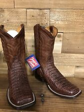 Tony Lama Men's Cognac Hornback Caiman Western Boots - Square Toe
