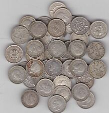50 SILVER THREE PENCE COINS DATED BETWEEN 1920 TO 1941 IN FINE OR BETTER