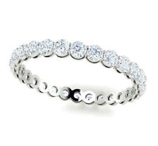 White Gold Eternity Band Gh I1 1.50Ct Round Diamond Shared Prong Gallery 14k