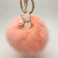 Rabbit Fur Key Chain Bag Charm Fluffy Puff Ball Key Ring With Cute Cat Pendant