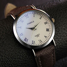 Luxury Stylish Leather Band Men's Quartz Analog Watch Watches Roman Numerals pop
