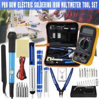 60W Electric Adjustable Soldering Iron Welding LCD Digital Multimeter Tool Kit