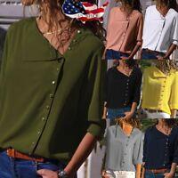 Fashion Women Ladies Long Sleeve Loose Blouse Casual Shirt Lapel Tops T-Shirt
