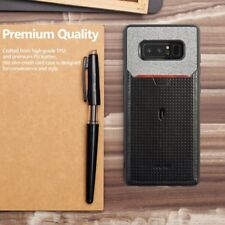 Case For Samsung Galaxy Note 8 Poetic【Nubuck】Credit Card Slot Pull-Tab Black