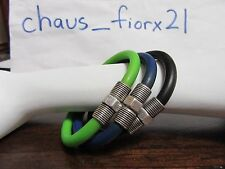 Set of 3 Hollow Rubber Bracelets with Silver Tone Nut and Bolt Magnetic Clasp