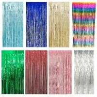 Foil Curtain Metallic Tinsel Backdrop Door Party Decorations Rose Gold Rainbow
