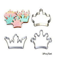 3 Princess Crown King Queen Party Cookie Cutter Cake Biscuit Baking Tool Mold OZ
