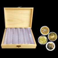 100X Coin Capsules Storage Box with Wooden Display Case Holder Collect Supplies