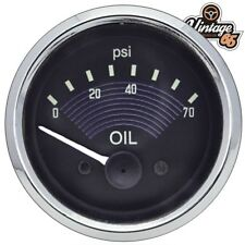 Vw Beetle T1 Classic Retro Black EO Style Oil Pressure Gauge Smiths 52mm 12V