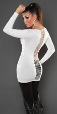 Sexy Long Pulli Longpullover Pullover Rückenfrei mit Strass 34 36 38 Weiß