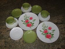 Vintage Melamine Melmac 12 Piece to complete a Set Green, White, Pink Roses EUC