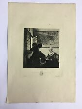 After Vermeer Le Soldat Fillette Qui Rit Etching Salmon Officer & Laughing Girl