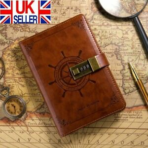 Newest Notebook With Lock Diary Retro Password Book Diary Journal Lockable UK
