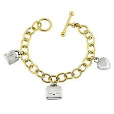 """14k Yellow & White Gold Heart Bag Lock Charm Bracelet 8"""" 15.3 grams"""