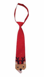 Gymboree Holiday Shop Boys Red Reindeer Neck Tie Sz 0-24 Months NWT