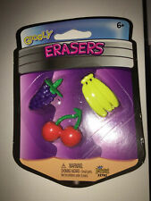 3 pack of Fruit Erasers