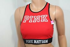 Victoria's Secret Pink Nation Racerback Sports Crop Bra Top Color Red Large NWT