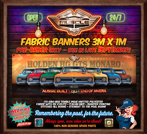IN STOCK! LIMITED NUMBERS  HOLDEN HG MONARO GTS 50 YEARS 3mx1m  FABRIC BANNER