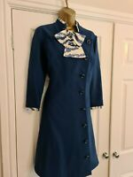 Ladies Blue Vintage Dress With Bow Front Size 14 By ANN MICHAEL