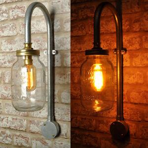 ELY Wall Light Lamp Swan Neck - Kilner Jar - Industrial Retro Style CE MARKED