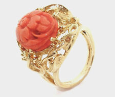 9.49 Grams 14kt Gold Ring With Pink Flower Motif size 5.50