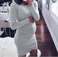 Women's Pregnancy Dress Long Sleeve Crew Neck Casual Plus Size Solid Clothes