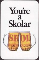 Playing Cards 1 Single Card Old IND COOPE Brewery SKOL LAGER BEER Advertising D