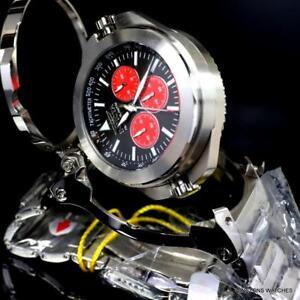 Invicta Transatlantic 50mm Reversible Steel Black Red Dual Mvt Chrono Watch New