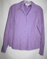 Talbots Misses SMALL Faux Suede Shirt Blouse Purple Button Up LS Pintuck Soft