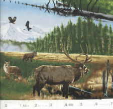 Big Sky Country Elk, Deer, Foxes Quilt Fabric - Free Shipping - 1 Yard