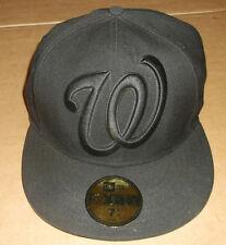 New Era 5950 WASHINGTON NATIONALS Black on Black Hat MLB Baseball Fitted Cap 58
