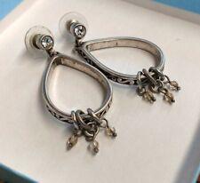 Retired Brighton Dangle Hoop Crystals Scrolled Earrings