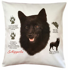 More details for schipperke history breed of dog cotton cushion cover - perfect gift