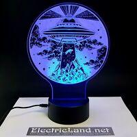 UFO alien abduction alieni lampada luce notturna Led 3D Acrylic Night Light Lamp