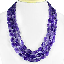 AMAZING 578.85 CTS NATURAL 3 LINE OVAL SHAPED BOLIVIAN AMETHYST BEADS NECKLACE