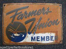 Old FARMERS UNION Member Sign metal embossed farm feed seed advertising