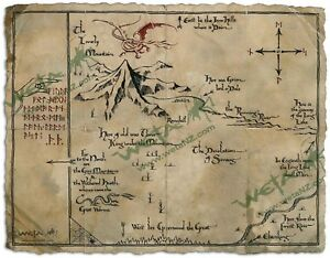 LOTR The Hobbit Thorin's Map Parchment Art Print by Weta Authentic WETA Map