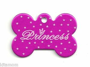 """PRINCESS"" Dog Bone K9 Pet ID Custom Name Tag Identification"