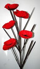 """5 Head - Red Artificial Poppy Flower Stem  - Arrangement 34"""" Tall."""