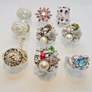 Sonderposten - Restposten 9 Kristall Modeschmuck Ringe ab 1 Euro