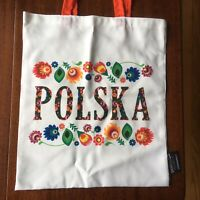 "Polish Souvenir Tote Bag ""Polska"" Floral Design 16"" X 13.5"" Orange Cloth Handles"
