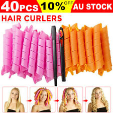 40PCS Magic Hair Curlers Rollers Styling 50cm Spiral Ringlets Leverage Formers