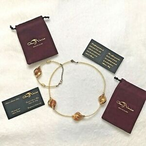 GlassOfVenice Royal Cognac Spirals Necklace and Bracelet Set *MADE IN ITALY*