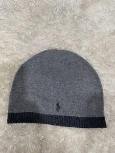 NWOT! Ralph Lauren Polo Bear Beanie Skull Ski Hat Boys One Size Gray/Dark Gray