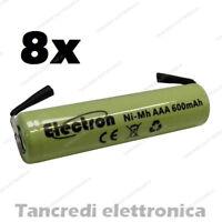 8pz BATTERIA RICARICABILE NI-MH AAA MINISTILO 1,2V 600mAh 11x45mm SALDARE NIMH