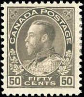 Mint H Canada F+ Scott #120 50c 1925  KGV Admiral Stamp
